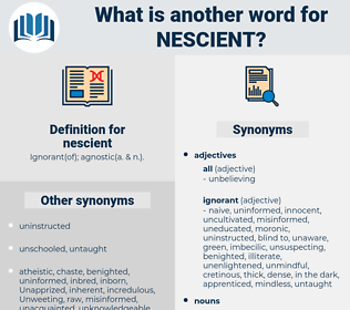 nescient, synonym nescient, another word for nescient, words like nescient, thesaurus nescient
