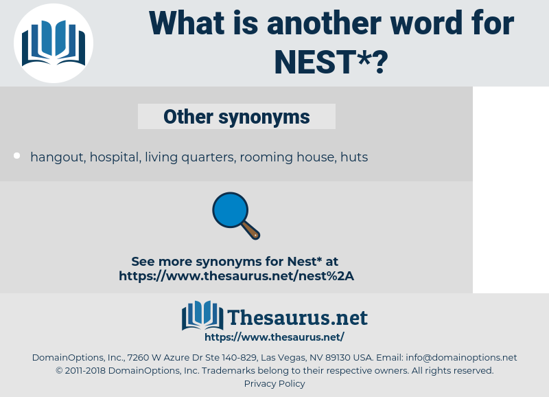 nest, synonym nest, another word for nest, words like nest, thesaurus nest