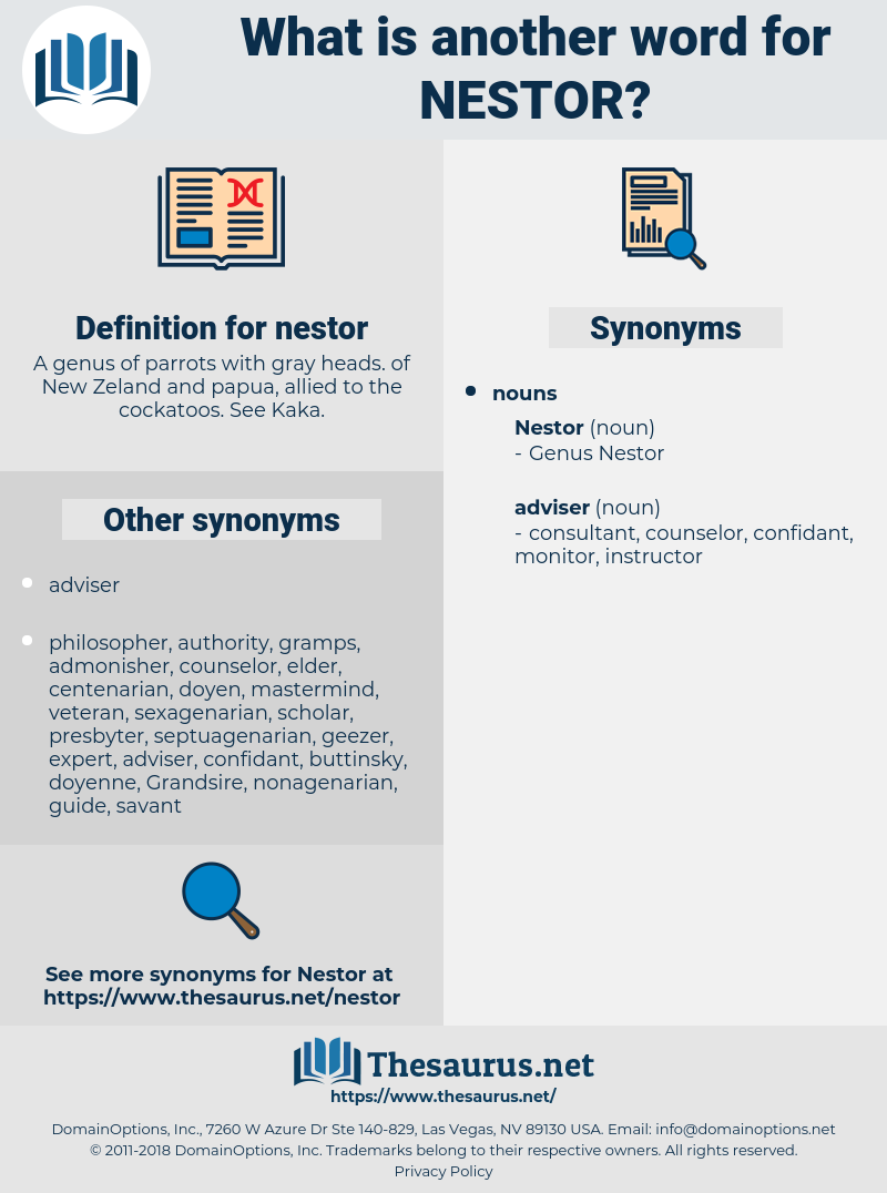nestor, synonym nestor, another word for nestor, words like nestor, thesaurus nestor
