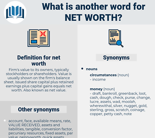 net worth, synonym net worth, another word for net worth, words like net worth, thesaurus net worth