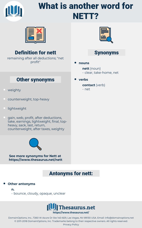 nett, synonym nett, another word for nett, words like nett, thesaurus nett