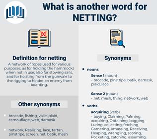 netting, synonym netting, another word for netting, words like netting, thesaurus netting