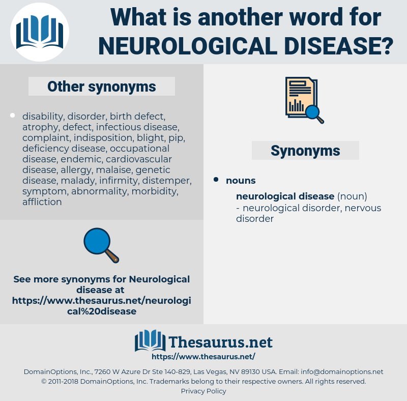 neurological disease, synonym neurological disease, another word for neurological disease, words like neurological disease, thesaurus neurological disease