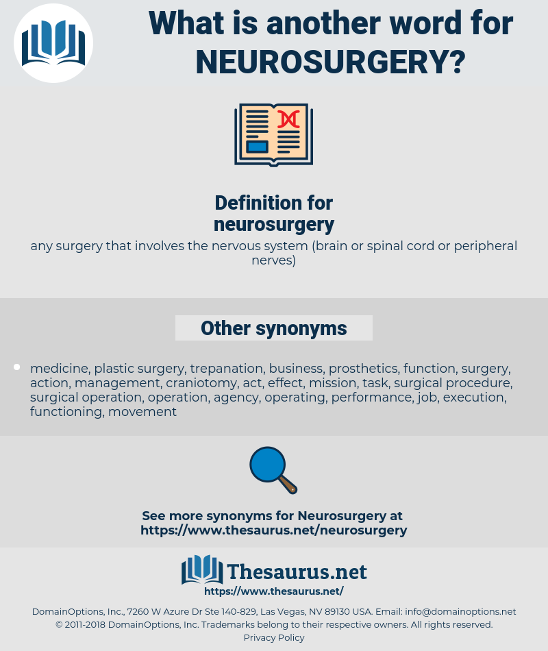 neurosurgery, synonym neurosurgery, another word for neurosurgery, words like neurosurgery, thesaurus neurosurgery