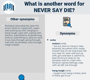 never say die, synonym never say die, another word for never say die, words like never say die, thesaurus never say die