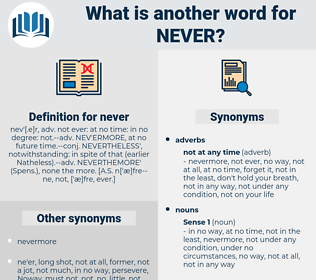 never, synonym never, another word for never, words like never, thesaurus never