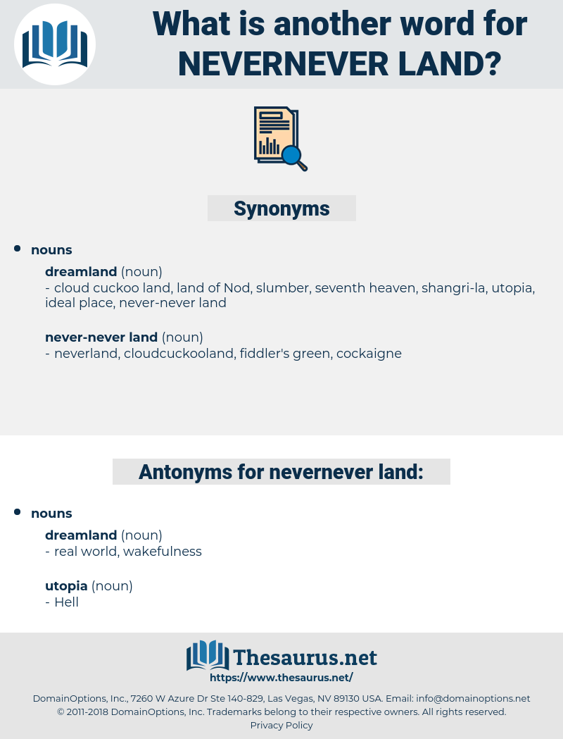 nevernever land, synonym nevernever land, another word for nevernever land, words like nevernever land, thesaurus nevernever land