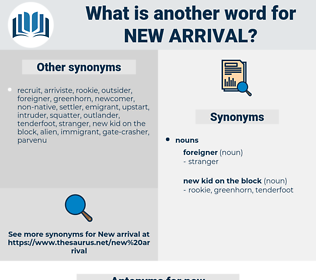 new arrival, synonym new arrival, another word for new arrival, words like new arrival, thesaurus new arrival
