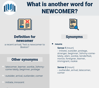 newcomer, synonym newcomer, another word for newcomer, words like newcomer, thesaurus newcomer