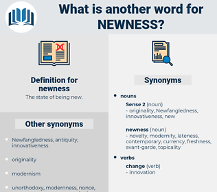 newness, synonym newness, another word for newness, words like newness, thesaurus newness