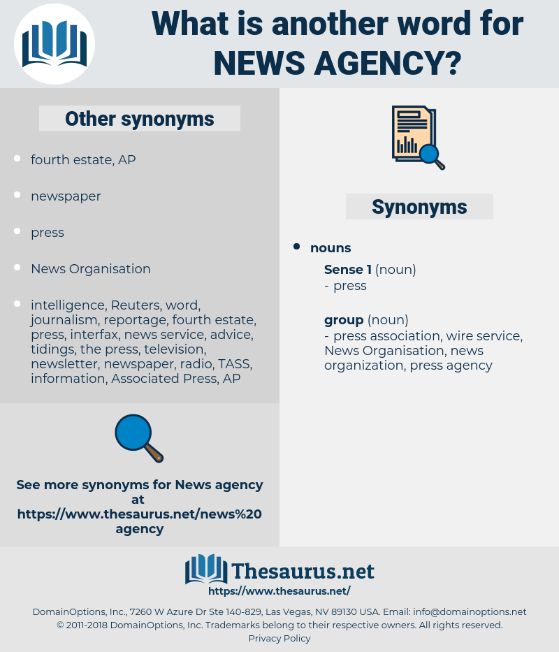news agency, synonym news agency, another word for news agency, words like news agency, thesaurus news agency