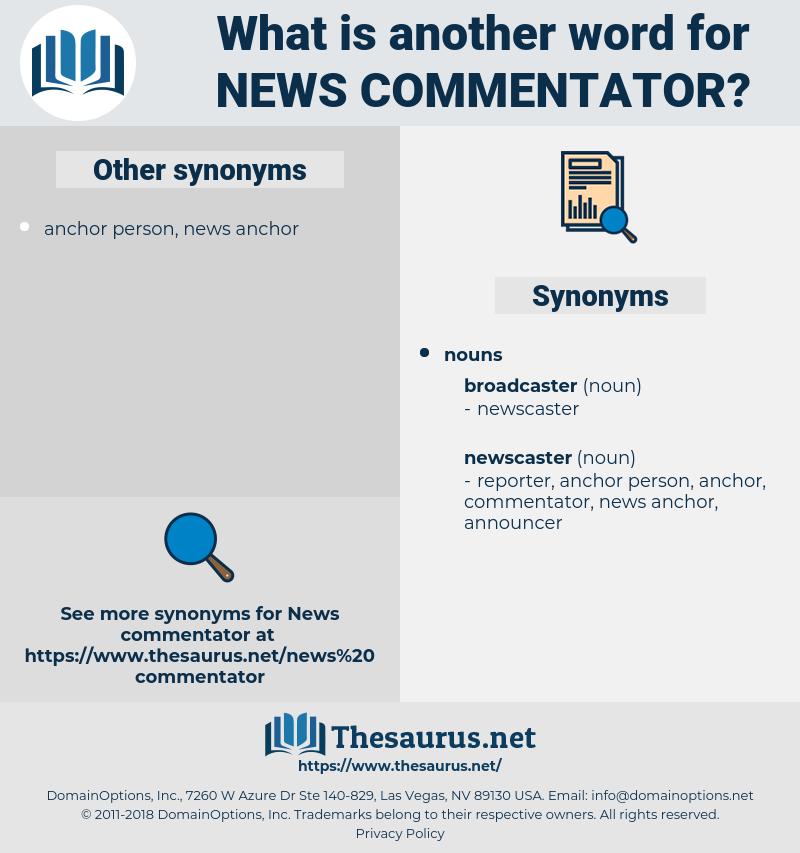news commentator, synonym news commentator, another word for news commentator, words like news commentator, thesaurus news commentator