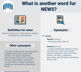 news, synonym news, another word for news, words like news, thesaurus news