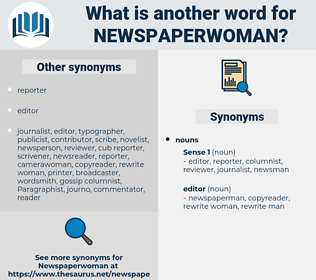 newspaperwoman, synonym newspaperwoman, another word for newspaperwoman, words like newspaperwoman, thesaurus newspaperwoman