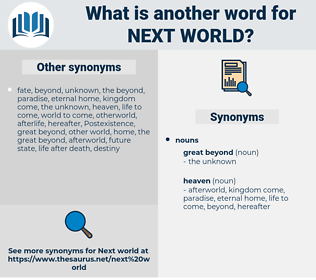 Next world, synonym Next world, another word for Next world, words like Next world, thesaurus Next world