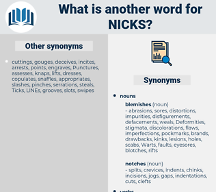 nicks, synonym nicks, another word for nicks, words like nicks, thesaurus nicks