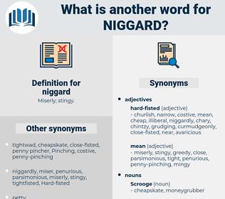 niggard, synonym niggard, another word for niggard, words like niggard, thesaurus niggard