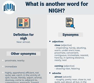 nigh, synonym nigh, another word for nigh, words like nigh, thesaurus nigh