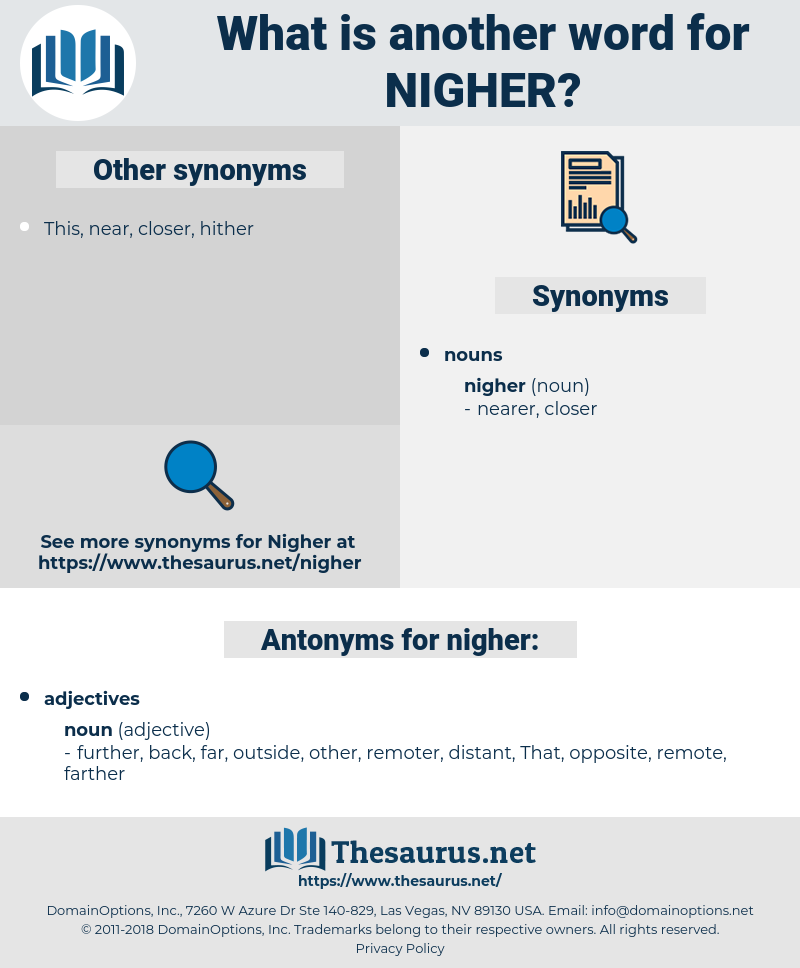 nigher, synonym nigher, another word for nigher, words like nigher, thesaurus nigher