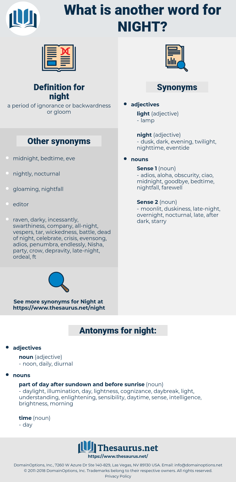 night, synonym night, another word for night, words like night, thesaurus night