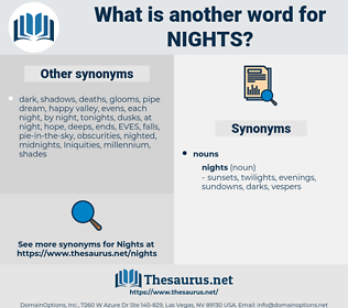 nights, synonym nights, another word for nights, words like nights, thesaurus nights