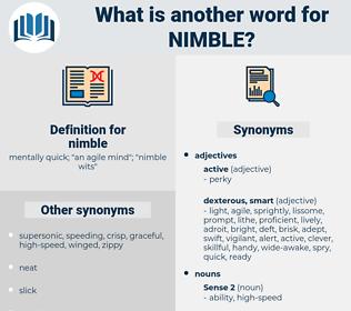 nimble, synonym nimble, another word for nimble, words like nimble, thesaurus nimble