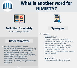 nimiety, synonym nimiety, another word for nimiety, words like nimiety, thesaurus nimiety