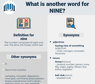 nine, synonym nine, another word for nine, words like nine, thesaurus nine