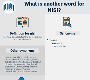nisi, synonym nisi, another word for nisi, words like nisi, thesaurus nisi