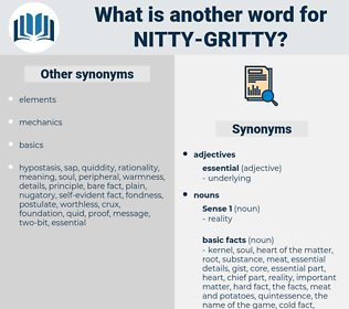 nitty-gritty, synonym nitty-gritty, another word for nitty-gritty, words like nitty-gritty, thesaurus nitty-gritty