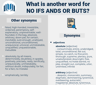 no ifs ands or buts, synonym no ifs ands or buts, another word for no ifs ands or buts, words like no ifs ands or buts, thesaurus no ifs ands or buts