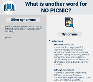 no picnic, synonym no picnic, another word for no picnic, words like no picnic, thesaurus no picnic