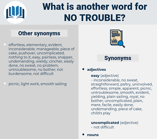 no trouble, synonym no trouble, another word for no trouble, words like no trouble, thesaurus no trouble