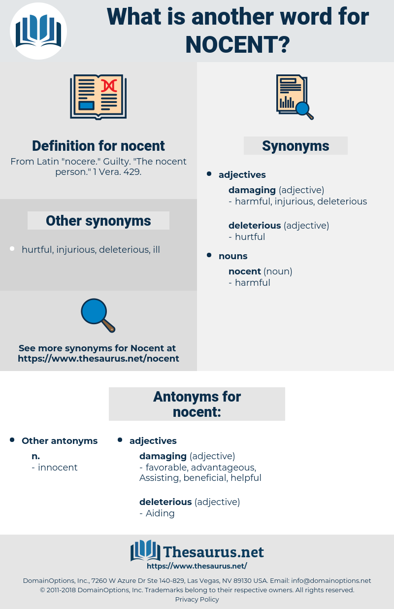 nocent, synonym nocent, another word for nocent, words like nocent, thesaurus nocent