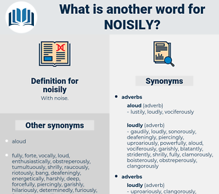 noisily, synonym noisily, another word for noisily, words like noisily, thesaurus noisily