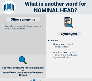 nominal head, synonym nominal head, another word for nominal head, words like nominal head, thesaurus nominal head