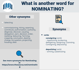 Nominating, synonym Nominating, another word for Nominating, words like Nominating, thesaurus Nominating