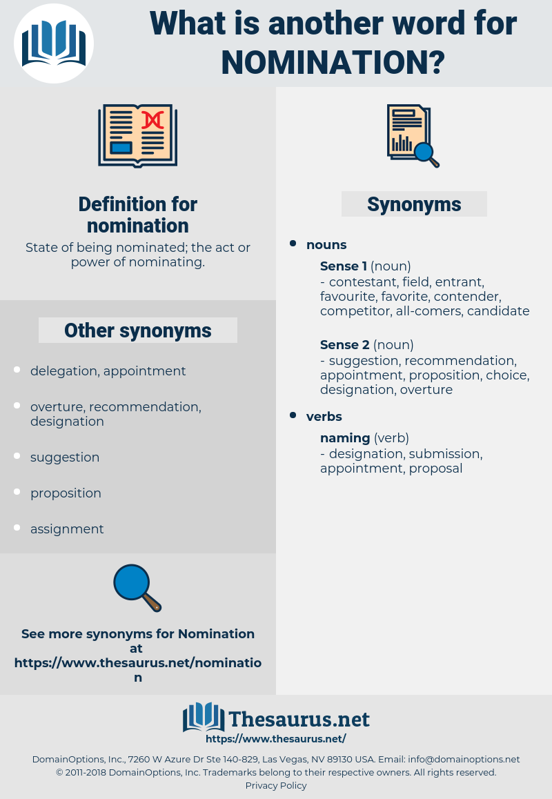 nomination, synonym nomination, another word for nomination, words like nomination, thesaurus nomination