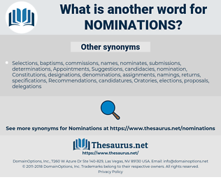 nominations, synonym nominations, another word for nominations, words like nominations, thesaurus nominations