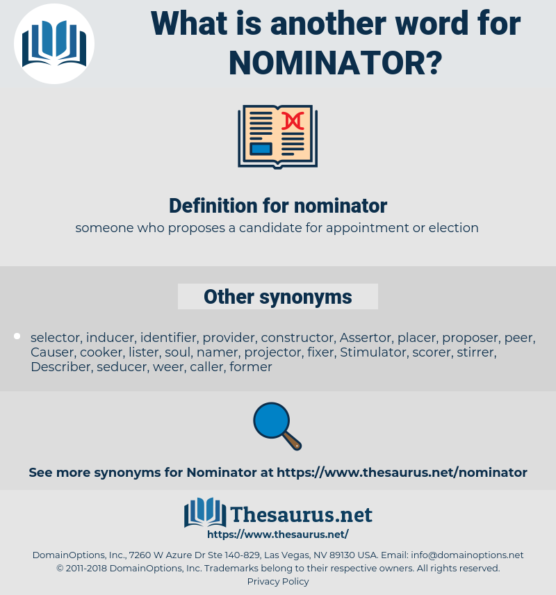 nominator, synonym nominator, another word for nominator, words like nominator, thesaurus nominator