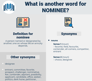 nominee, synonym nominee, another word for nominee, words like nominee, thesaurus nominee