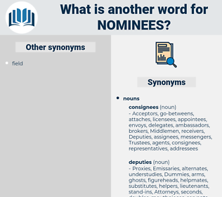nominees, synonym nominees, another word for nominees, words like nominees, thesaurus nominees