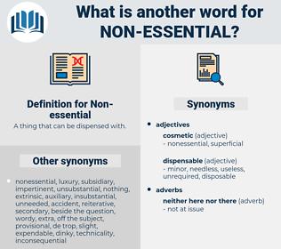 Non-essential, synonym Non-essential, another word for Non-essential, words like Non-essential, thesaurus Non-essential