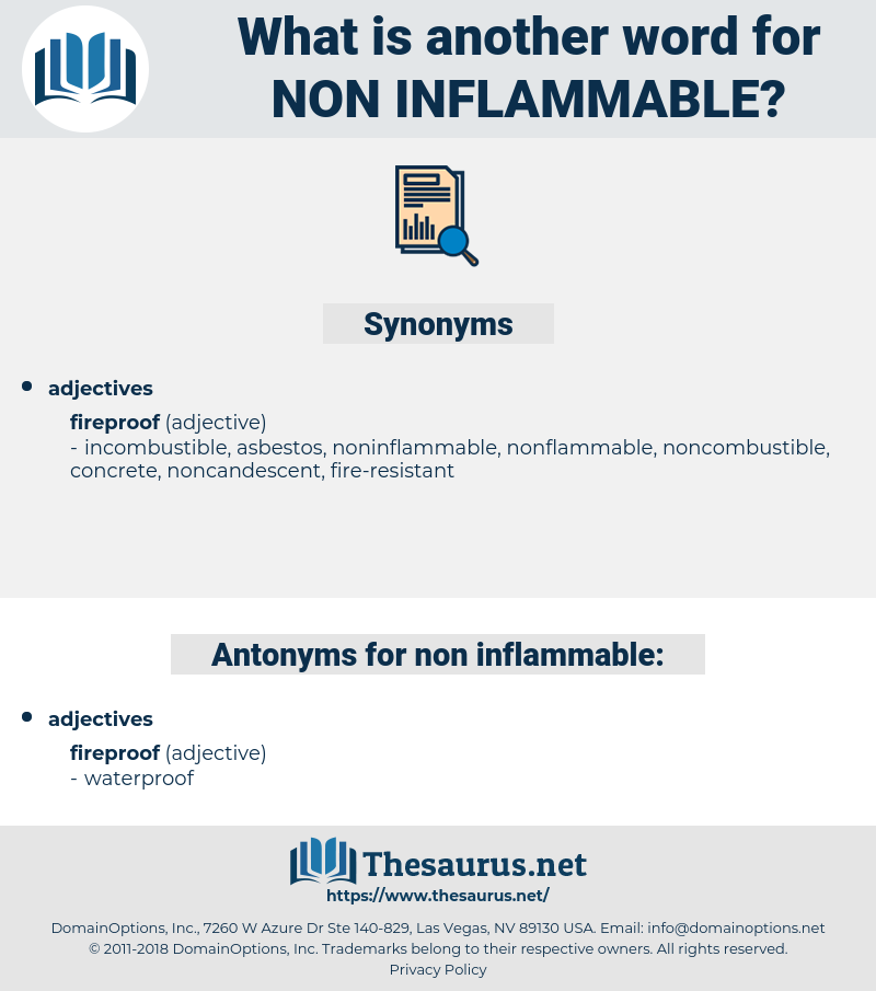 non-inflammable, synonym non-inflammable, another word for non-inflammable, words like non-inflammable, thesaurus non-inflammable