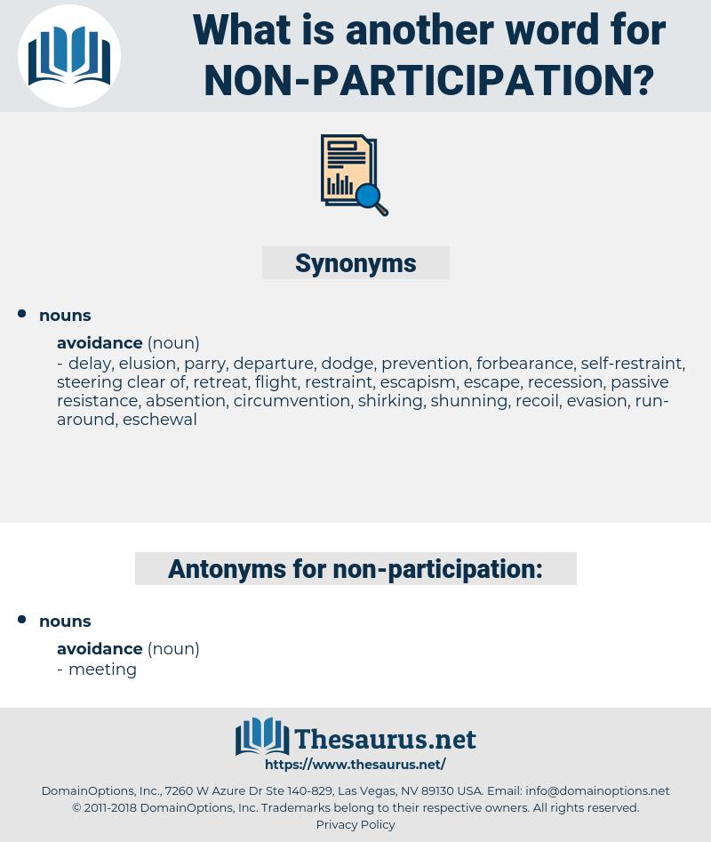 non-participation, synonym non-participation, another word for non-participation, words like non-participation, thesaurus non-participation