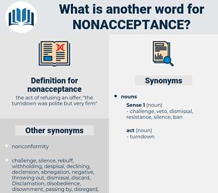 nonacceptance, synonym nonacceptance, another word for nonacceptance, words like nonacceptance, thesaurus nonacceptance