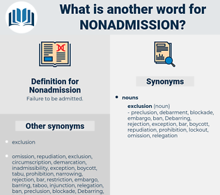 Nonadmission, synonym Nonadmission, another word for Nonadmission, words like Nonadmission, thesaurus Nonadmission