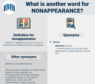 nonappearance, synonym nonappearance, another word for nonappearance, words like nonappearance, thesaurus nonappearance