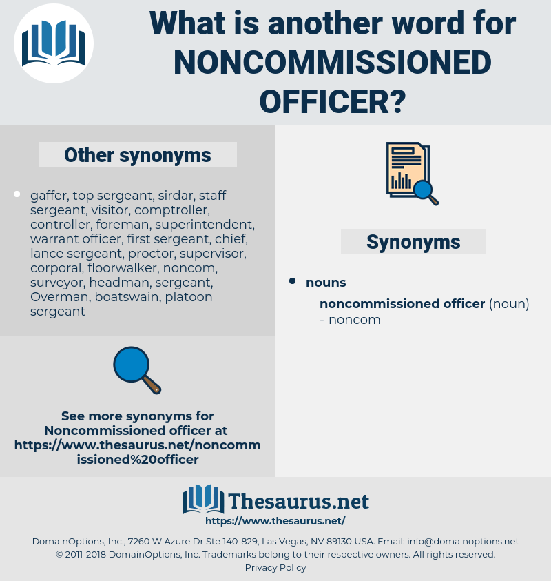 noncommissioned officer, synonym noncommissioned officer, another word for noncommissioned officer, words like noncommissioned officer, thesaurus noncommissioned officer