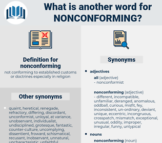 nonconforming, synonym nonconforming, another word for nonconforming, words like nonconforming, thesaurus nonconforming